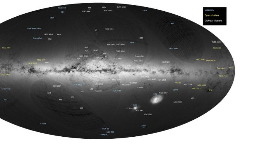 Une cartographie de la Voie lactée d'une précision inégalée, avec la localisation de quelque 1,15 milliard d'étoiles, a été présentée par l'Agence spatiale européenne (ESA)