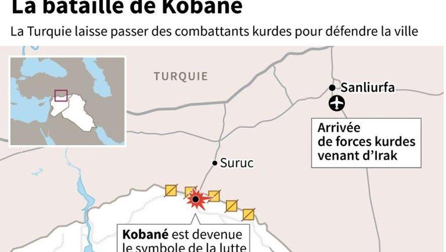 Localisation de Kobané en Syrie et de la frontière avec la Turquie
