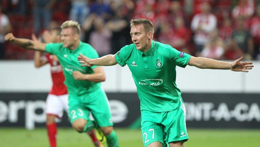 La joie de Robert Beric après avoir égalisé pour les Verts à Mayence en Europa League, le 15 septembre 2016