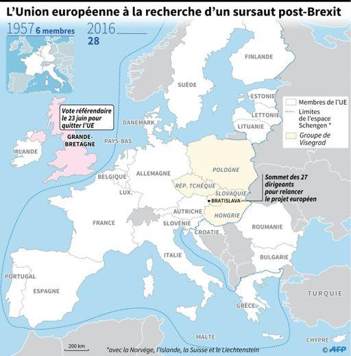 Carte d'Europe des pays membres de l'UE, localisant le sommet des 27 dirigeants à Bratislava en Slovaquie