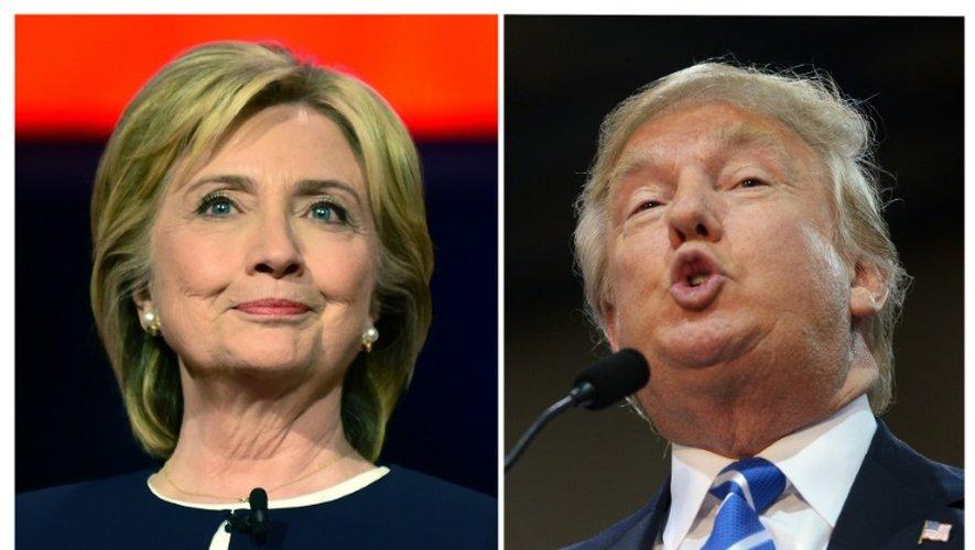 La candidate démocrate à la présidentielle américaine Hillary Clinton (g) à Las Vegas, dans le Nevada, le 13 octobre 2015 et son homologue républicain Donald Trump le 14 octobre 2015 à Richmond, dans le Virginie