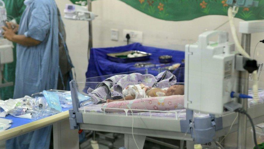 Un bébé né d'une mère porteuse de 32 ans, le 1er septembre 2016 à l'hôpital Akanksha à Anand