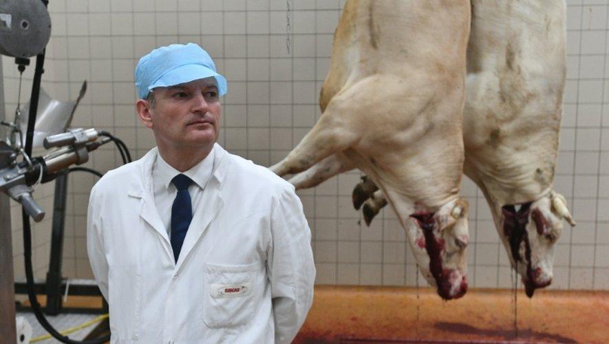 Le président de la Commission parlementaire chargé d'enquêter sur les abattoirs Olivier Falorni, dans un abattoir à Surgères (Charente-Maritime), le 20 juin 2016