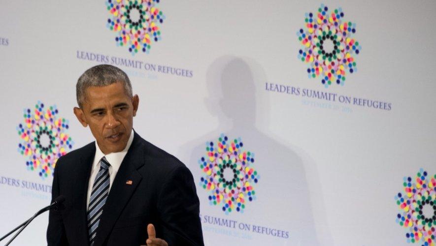 Le président américain Barack Obama prend la parole au sommet des dirigeants sur les réfugiés, le 20 septembre 2016, en marge de l'Assemblée générale de l'ONU à New York