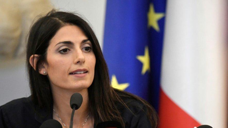 La maire de Rome Virginia Raggi, lors d'une conférence de presse sur les JO-2024, le 21 septembre 2016 dans la capitale italienne