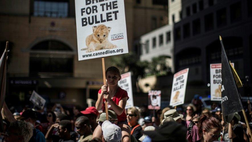 Manifestation pour la défense des espèces animales menacées, le 24 septembre 2016 à Johannesburg