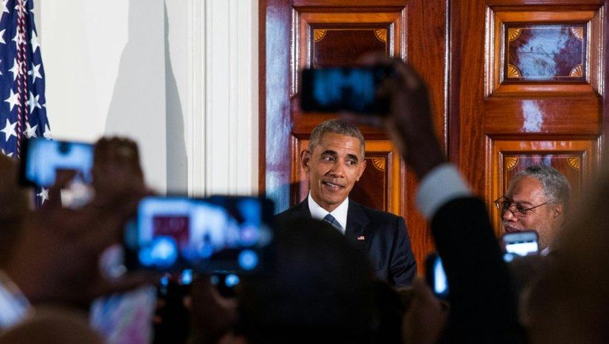 Barack Obama lors d'une réception à la Maison Blanche à l'occasion de l'ouverture du Musée de l'histoire et de la culture afroaméricaine, le 23 septembre 2016 à Washington
