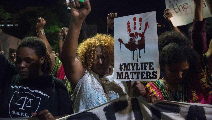 Manifestation  le 22 septembre 2016 dans la ville américaine de Charlotte après la mort d'un Noir tué par la police