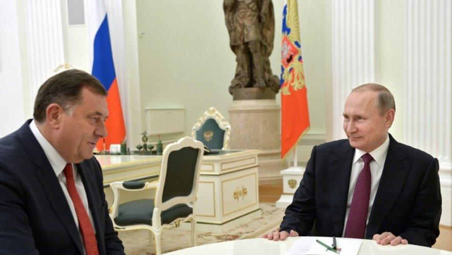 Le leader politique des Serbes de Bosnie, Milorad Dodik, reçu par le président russe Vladimir Poutine le 22 septembre 2016 à Moscou