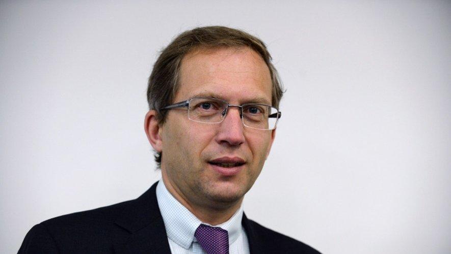 Le PDG d'Alstom, Henri Poupart-Lafarge, le 30 mai 2016 au siège du groupe à Saint-Ouen, au nord de Paris