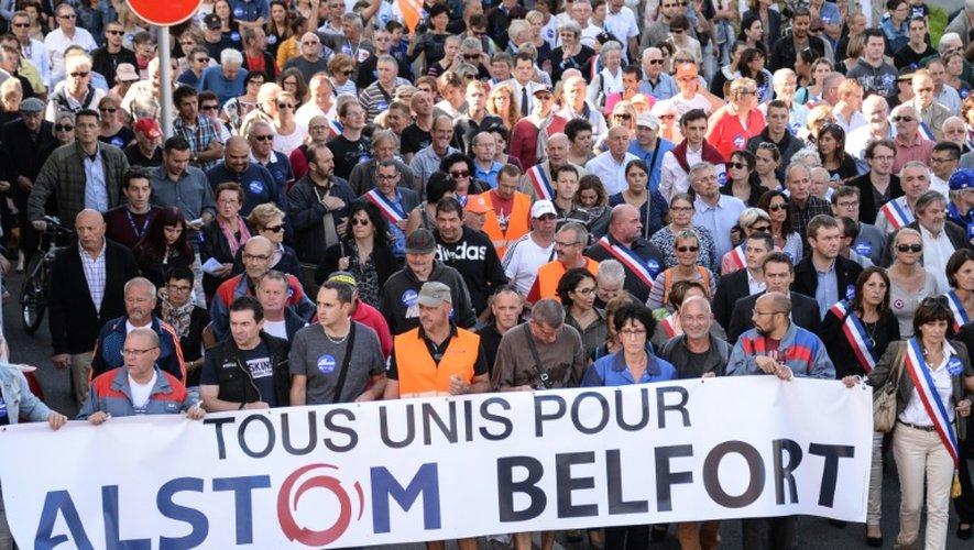 Manifestation d'opposants à la fermeture du site d'Alstom, le 24 septembre 2016 à Belfort