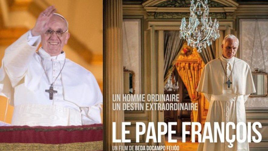 Le pape François le jour de son élection et l'affiche du biopic sur son destin