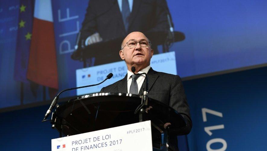 Le ministe de l'Economie et des Finances lors d'une conférence de presse sur le projet de loi de finances (PLF) le 28 septembre 2016 à Paris