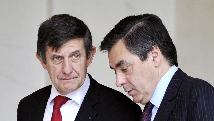 Jean-Pierre Jouyet et François Fillon le 12 novembre 2008 à l'Elysée à Paris