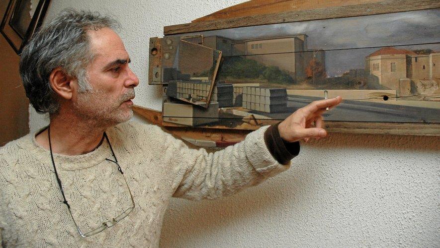 Shimon a peint les lieux de sa jeunesse, dans le quartier de Wadi Salib, comme ici l'école qu'il fréquentait, enfant.