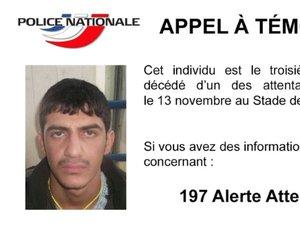 Attentats: appel à témoins, la police diffuse la photo du 3e kamikaze du Stade de France