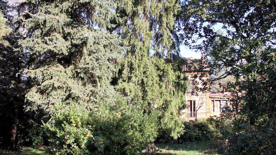 La bâtisse, cachée dans son écrin de verdure et derrière son rideau d'arbres.