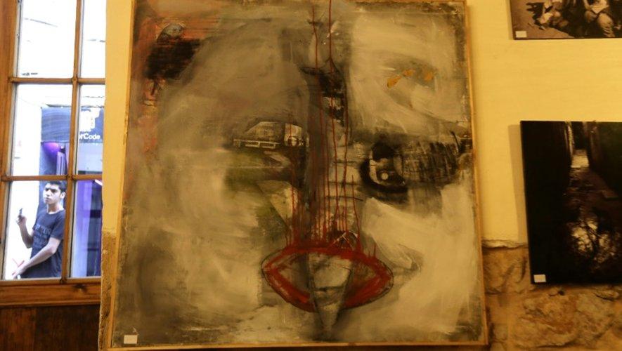 Une oeuvre de l'artiste syrienne Yara Said, exposée au Café Zeriab, à Damas