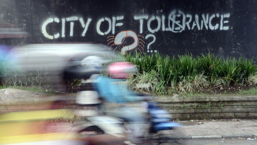 Un graffiti appelant à la tolérance à Yogyakarta, en Indonésie, le 8 mai 2016