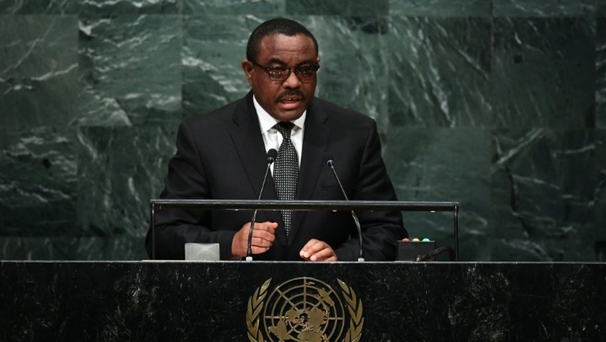 Le Premier ministre éthiopien Hailemariam Dessalegn devant l'Assemblée générale des Nations unies à new York le 22 septembre 2016