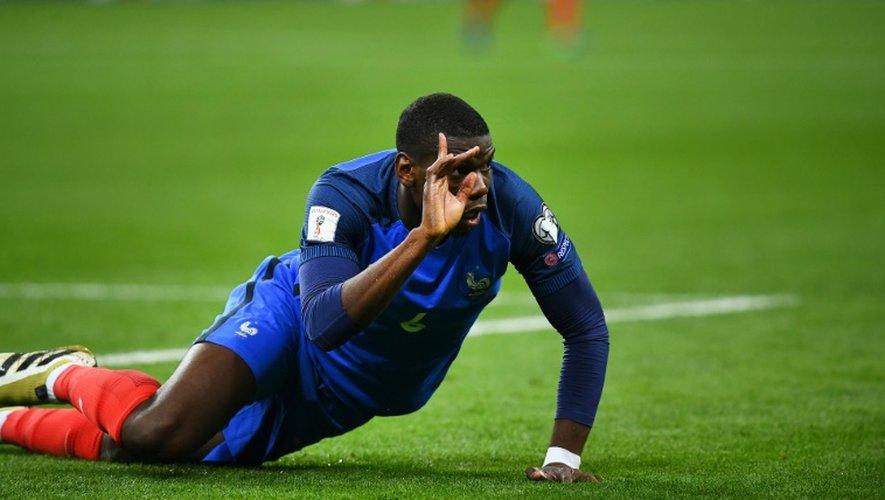 Le milieu des Bleus Paul Pogba en demi-teinte contre la Bulgarie en qualifs pour le Mondial-2018, le 7 octobre 2016 au Stade de France