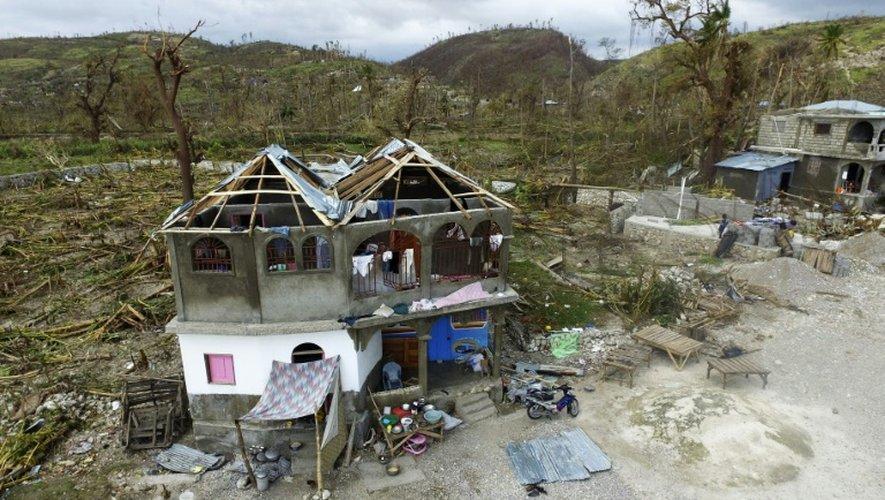 Le quartier de Port-Salut au sud-ouest de Port-au-Prince, le 9 octobre 2016, après le passage de  l'ouragan Matthew.
