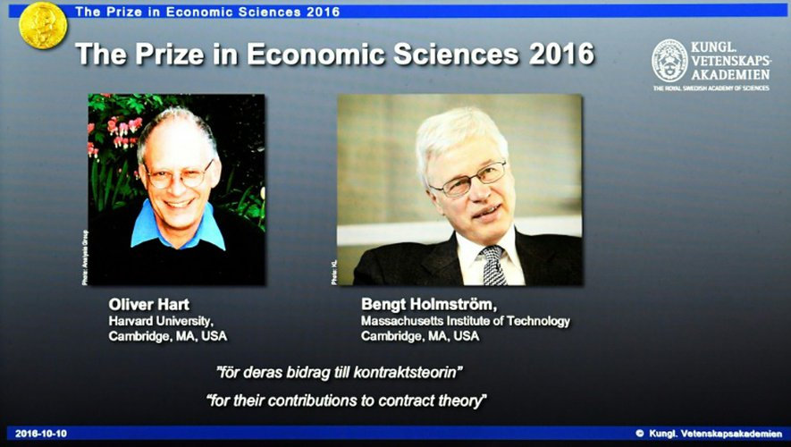 Annonce des lauréats du prix Nobel d'économie, le 10 octobre 2016 à Stockholm