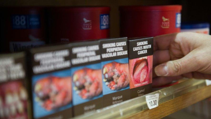 Un buralistes installe des paquets neutres, le 8 septembre 2015 à Colmar, en France, pour protester contre la décision du gouvernement d'introduire la cigarette neutre