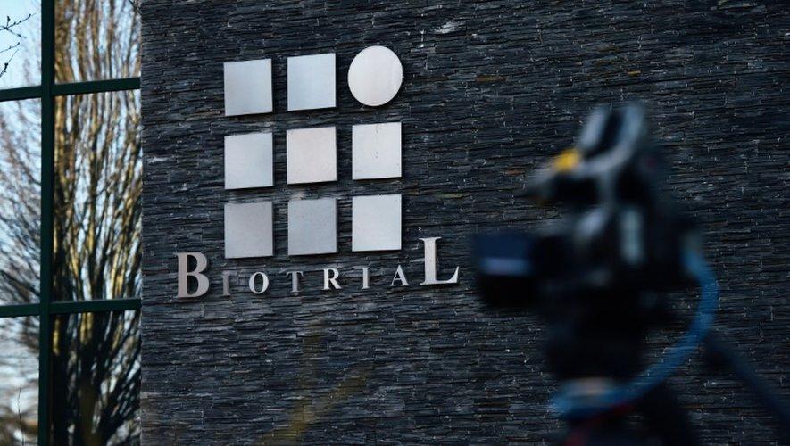Le logo du laboratoire portugais Biotrial à Rennes 16 janvier 2016.