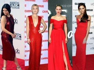 En rouge de Noël comme Selena Gomez, Kate Hudson, Léa Seydoux, Victoria Beckham...