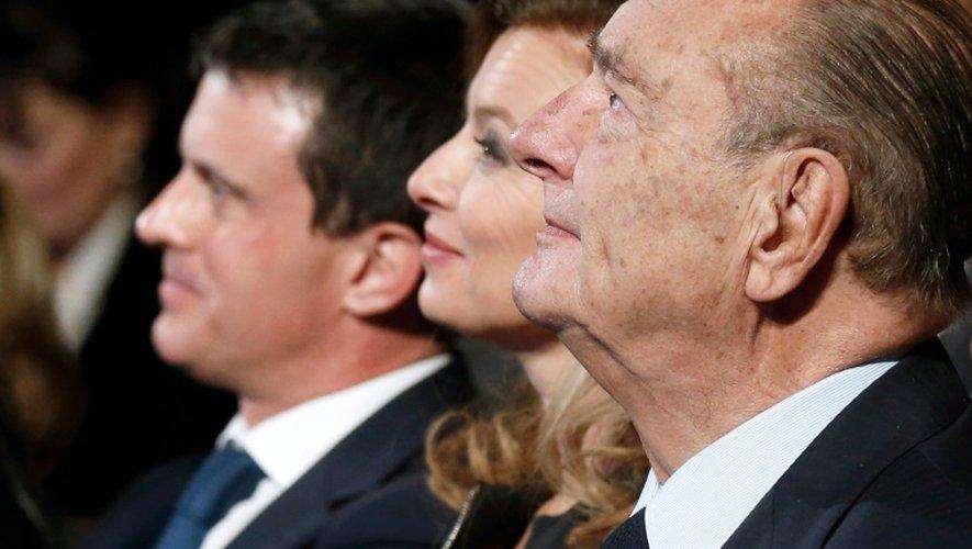 Jacques Chirac, Valérie Trierweiler et manuel Valls à Paris le 21 novembre 2013