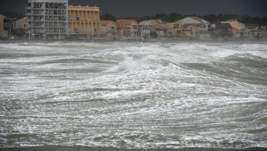 Tempête à Palavas-les-Flots, près de Montepellier, dans le sud de la France, le 13 octobre 2016