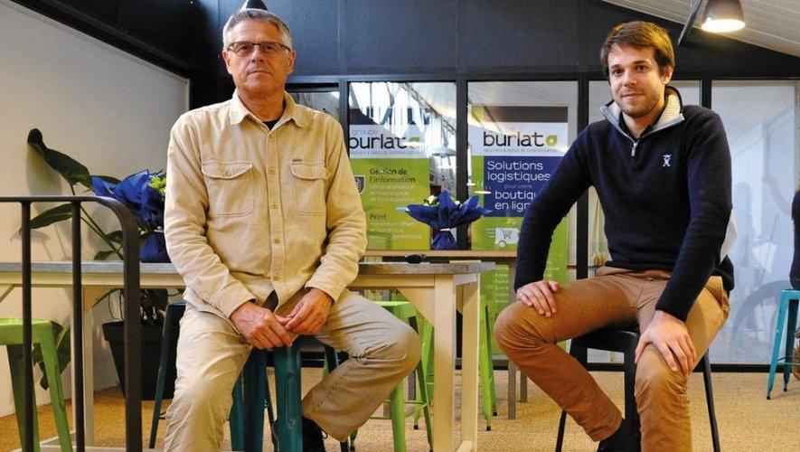 Didier Burlat et son fils Henri, dans les nouveaux locaux de l'entreprise, les anciens bureaux et ateliers de la société Drimmer, un ensemble de 5 700m² sur la zone de Cantaranne, à Onet-le-Château.