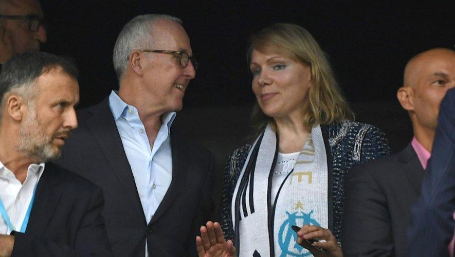 L'homme d'affaires américain Frank McCourt avec Margarita Louis-Dreyfus, alors propriétaire de l'OM, le 18 septembre 2016 à Marseille