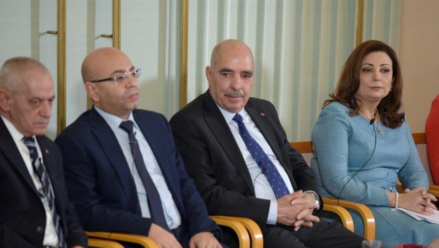 Les lauréats tunisiens du prix Nobel de la Paix  Houcine Abbassi,Mohamed Fadhel Mahfoud, Abdessatar Ben Moussa et  Wided Bouchamaoui le 9 décembre 2015 à Oslo