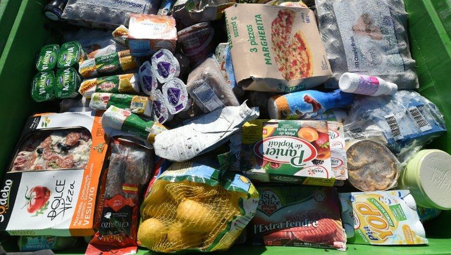 Un conteneur avec des restes alimentaires dans une usine de recyclage à Belesta-en-Lauragais, le 5 novembre 2015