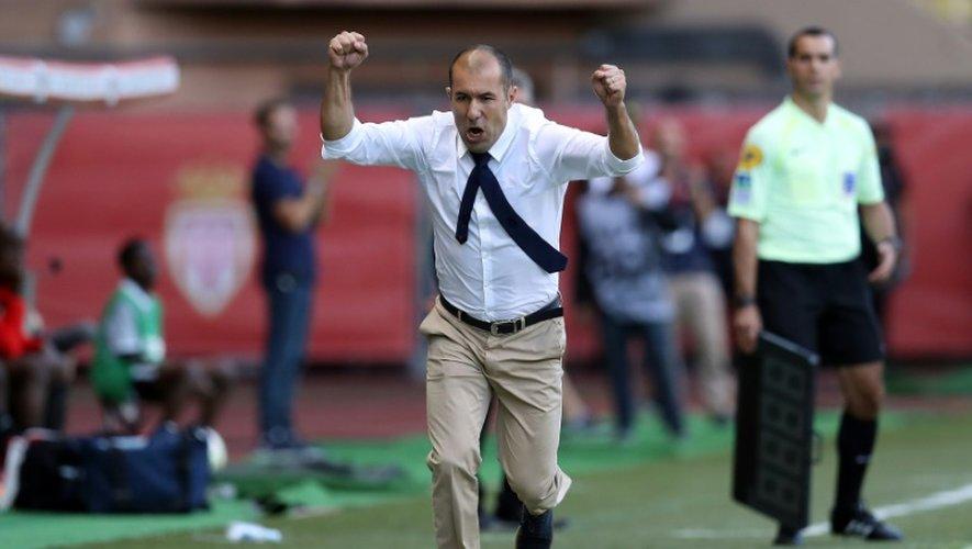 L'entraîneur de Monaco Leonardo exulte après un but de son équipe  face à Rennes au stade Louis II, le 17 septembre 2016