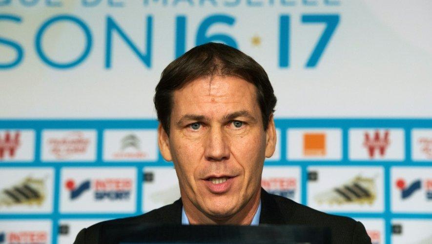 Le nouvel entraîneur de Marseille Rudi Garcia en conférence de presse au centre d'entraînement du club, le 21 octobre 2016