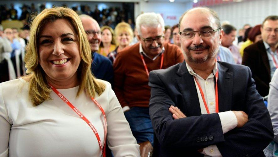 La présidente du gouvernement régional d'Andalousie Susana Diaz et le président du gouvernement régional d'Aragon Janvier Lamban, lors d'une réunion extraordinaire du PSOE, le 23 octobre 2016 à Madrid