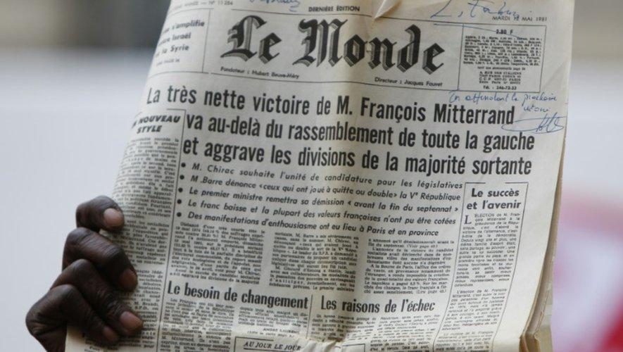 """La Une du quotidien """"Le Monde"""" au lendemain de l'élection de François Mitterrand le 10 mai 1981"""