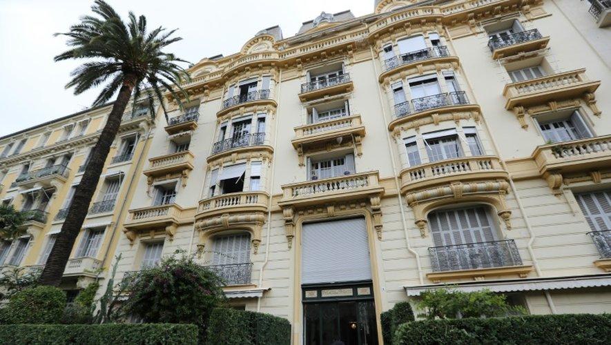 L'immeuble niçois où réside Jacqueline Veyrac,  propriétaire d'un hôtel cinq étoiles de Cannes, le 25 octobre 2015, retrouvée après avoir été victime d'un rapt