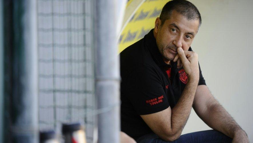 Le président du RC Toulon Mourad Boudjellal assite à un entraînement, le 27 octobre 2016 au stade Berg