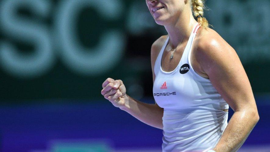 L'Allemande Angelique Kerber, le 29 octobre 2016 aprés sa victoire face à la Polonaise Agnieszka Radwanska en demies du Masters de Singapour