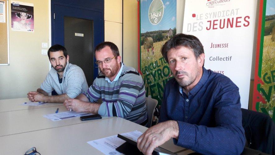 Germain Albouy (JA), Laurent Saint-Affre et Dominique Fayel (FDSEA) ont présenté les enjeux de cette mobilisation.