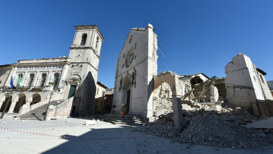 La basilique détruite de Saint-Bénédicte à Norcia, dans le centre de l'Italie, le 31 octobre 2016