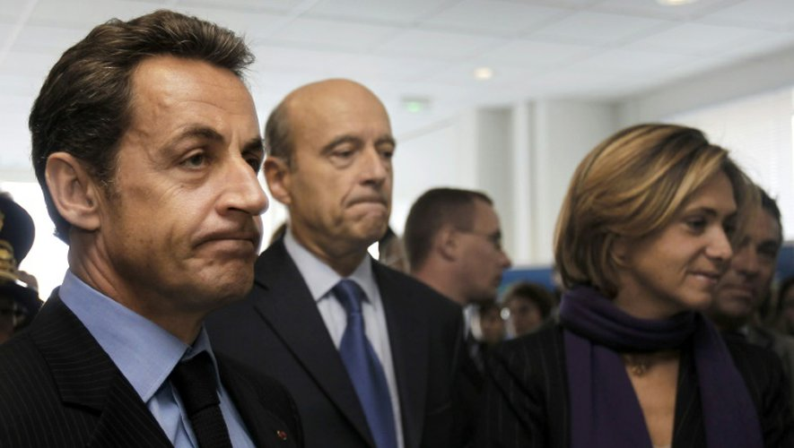 -Nicolas Sarkozy, Alain Juppé et Valérie Pecresse le 14 octobre 2010 à Le Barp