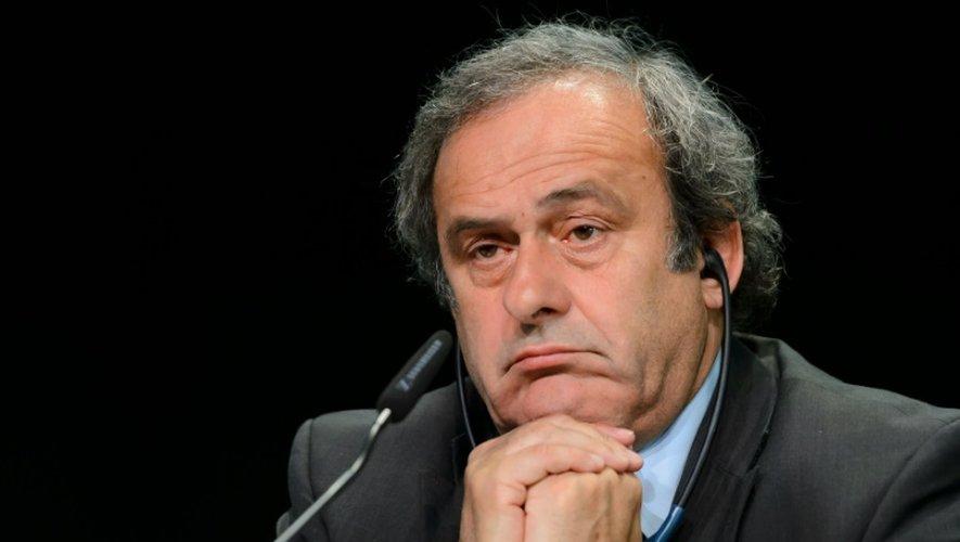 Le président de l'UEFA, Michel Platini, le 28 mai 2015 lors d'une conférence de presse à Zurich