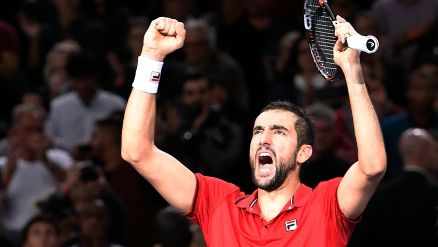 Le Croate Marin Cilic, tombeur du N°1 mondial Novak Djokovic, le 4 novembre 2016 à Paris-Bercy