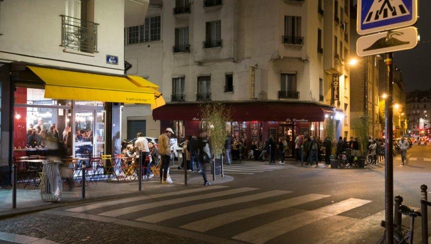 Les terrasses des cafés Le petit Cambodge et Le Carillon, cibles des attentats du 13 novembre 2015 à Paris, le 7 octobre 2016-