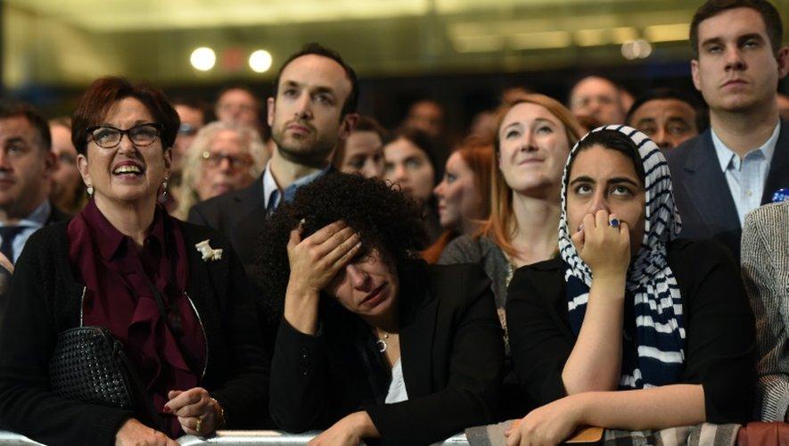 Les partisans de Hillary Clinton le 8 novembre 2016 au Javits Convention Center à New York